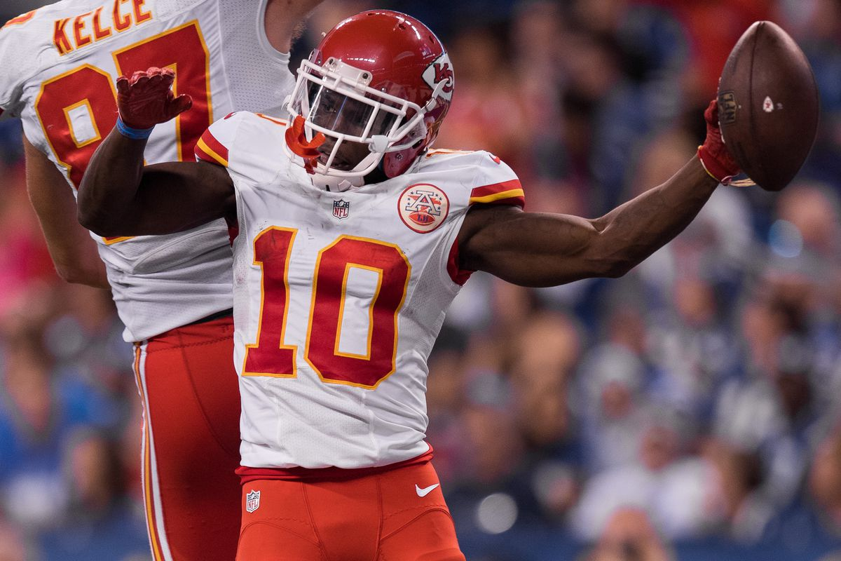 Kansas City Chiefs wide receiver Tyreek Hill (10) celebrates a touchdown during the NFL game between the Kansas City Chiefs and Indianapolis Colts on October 30, 2016, at Lucas Oil Stadium in Indianapolis, IN.