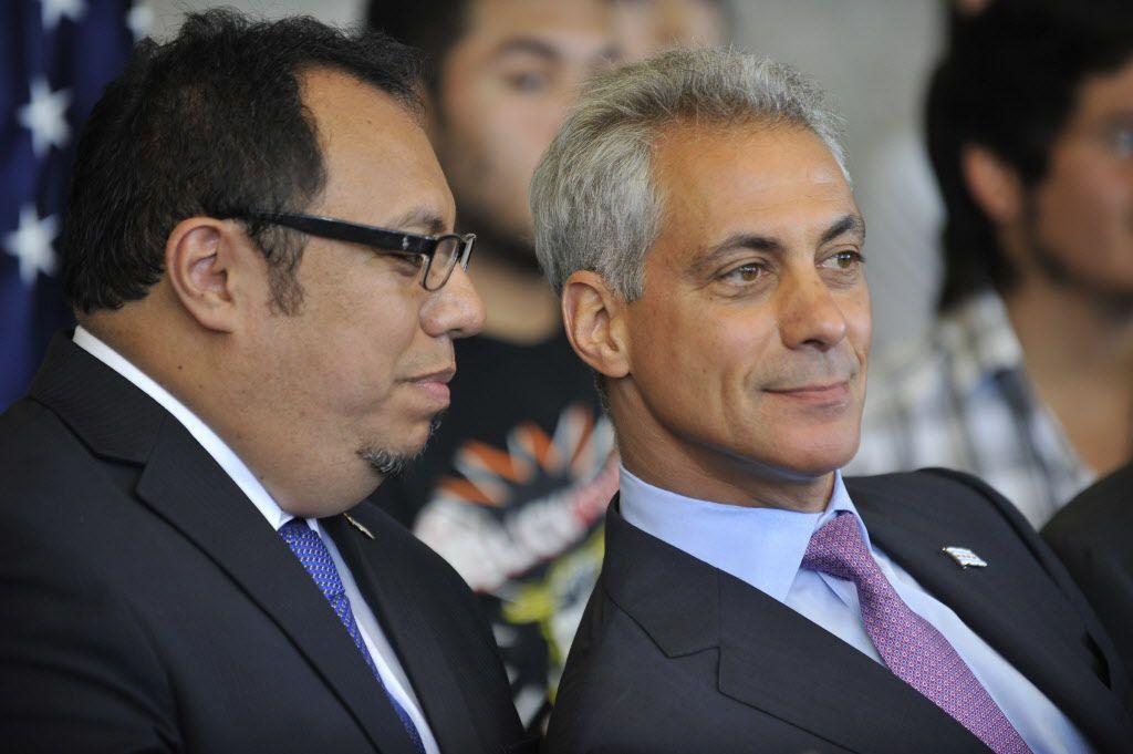 Juan Rangel with Mayor Rahm Emanuel in July 2012. | Sun-Times file photo