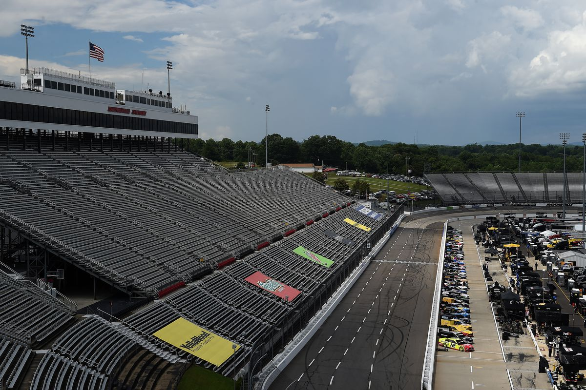 A general view of cars on the grid prior to the NASCAR Cup Series Blue-Emu Maximum Pain Relief 500 at Martinsville Speedway on June 10, 2020 in Martinsville, Virginia.