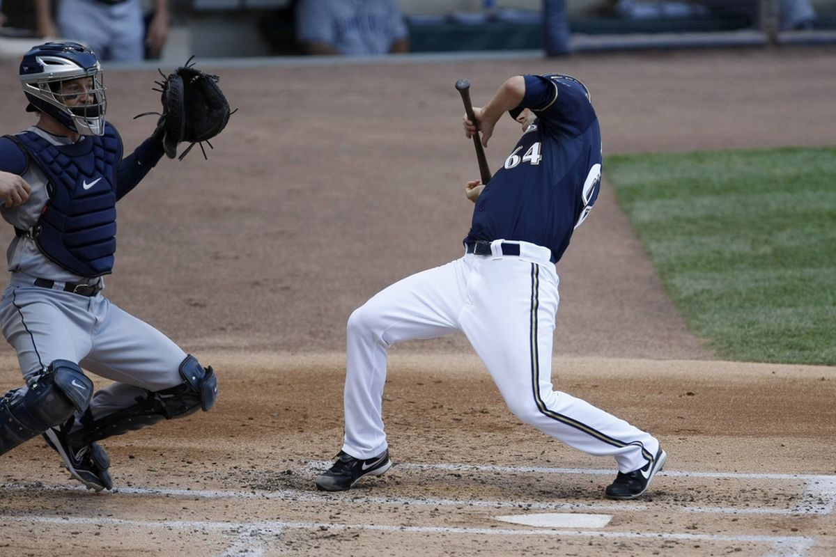 Michael Fiers has the most awkward batting stance ever.