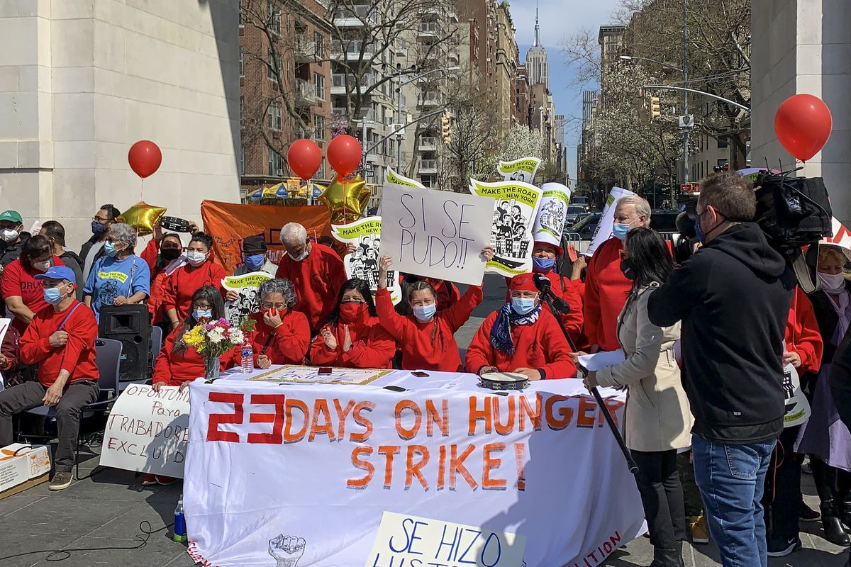 Essential workers end their 23-day long hunger strike in Washington Square Park and celebrate the passing of the $2.1 New York State Worker Fund. The fund will provide aid to undocumented workers excluded from federal pandemic assistance.