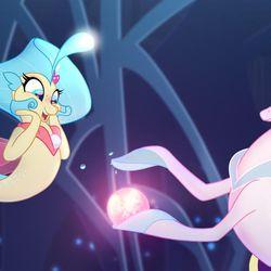 "Princess Skystar (Kristin Chenoweth) and Queen Novo (Uzo Aduba) in ""My Little Pony: The Movie."""