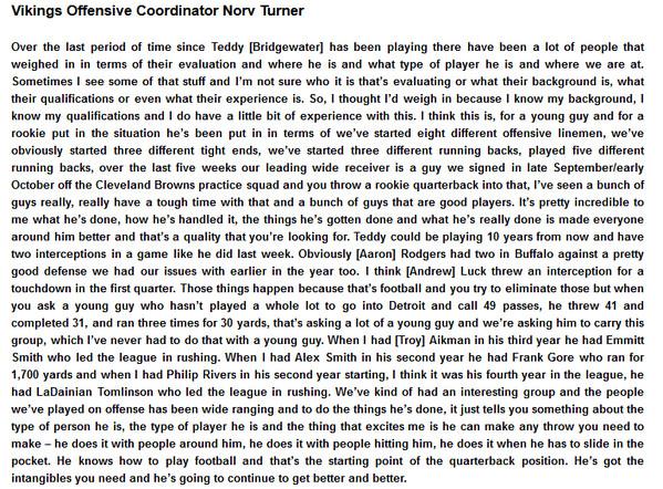 Norv Turner Statement on Teddy Bridgewater