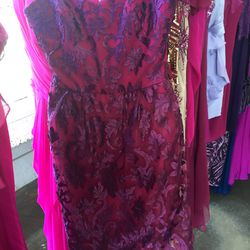 Purple and magenta lace cocktail dress, $100