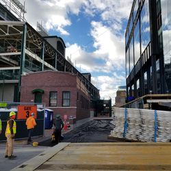 Another view of the walkway between the ballpark and Gallagher Way