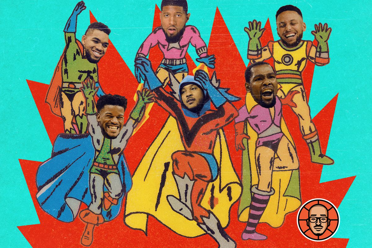 NBA stars' faces on superheroes' bodies