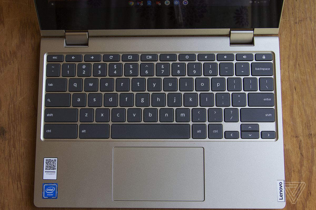 The Lenovo Ideapad Flex 3 keyboard seen from above.