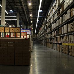 The warehouse has five levels of goods, including electronic kiosks to help you out if you've forgotten something.