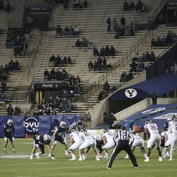Brigham Young Cougars and Texas State Bobcats play in Provo on Saturday, Oct. 24, 2020.