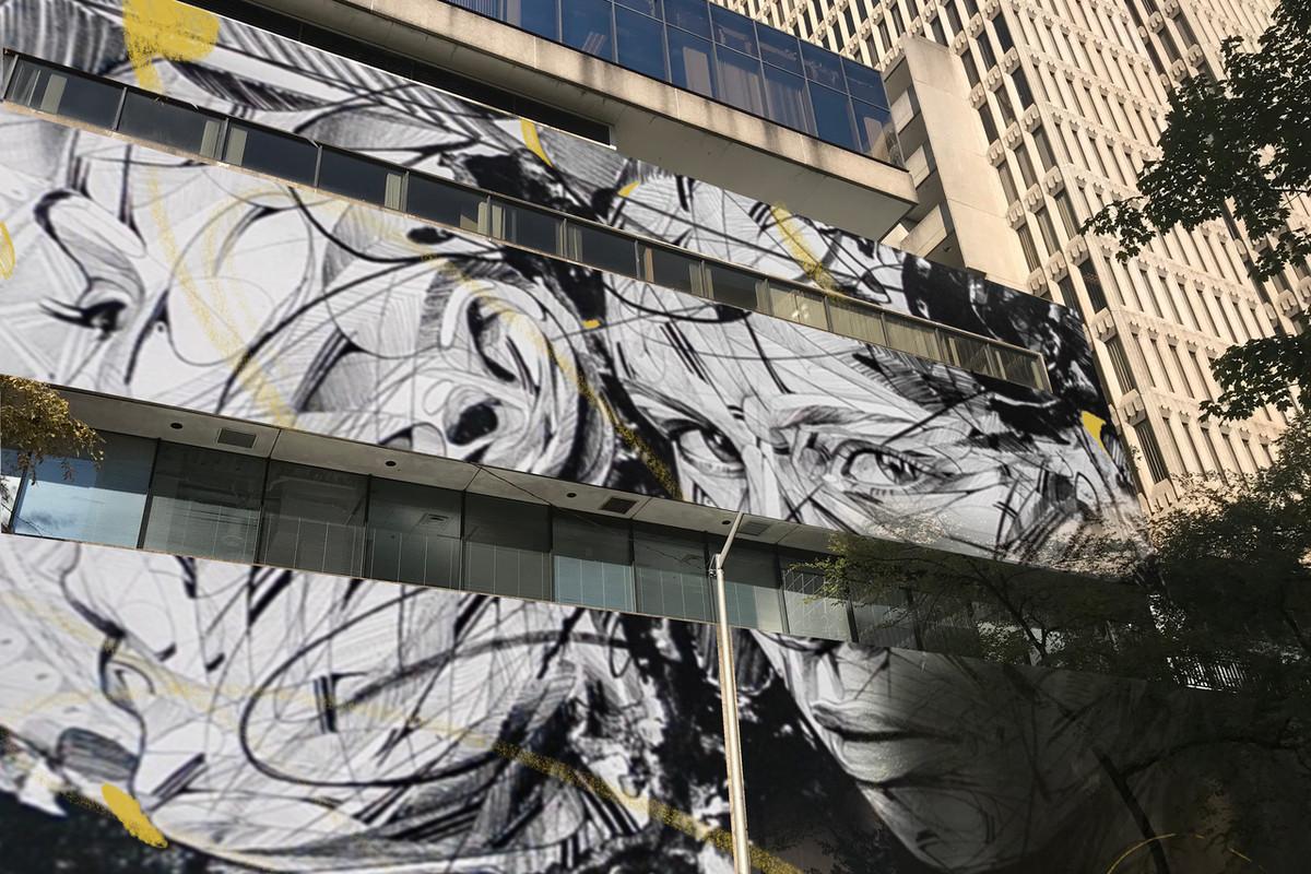 A photo of a mural in progress in downtown Atlanta.