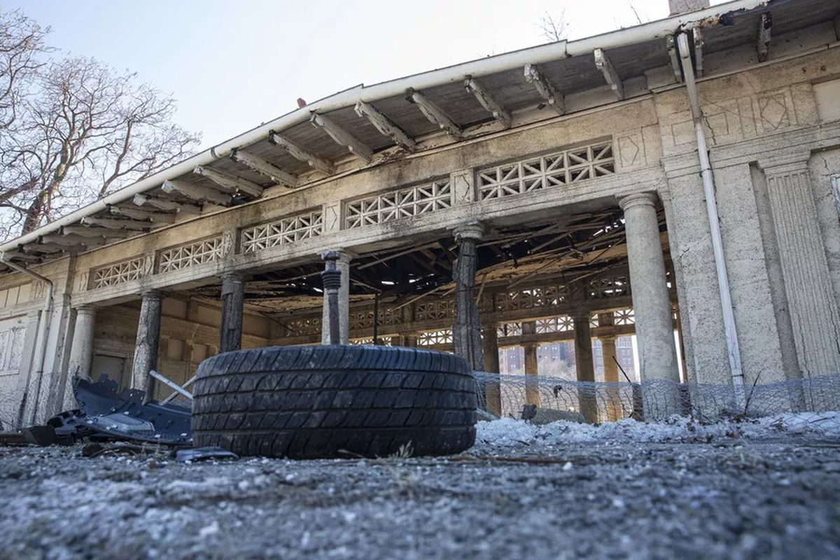 A classic Jackson Park pavilion stands near East Marquette Drive. An SUV smashed into the structure, which has long been neglected