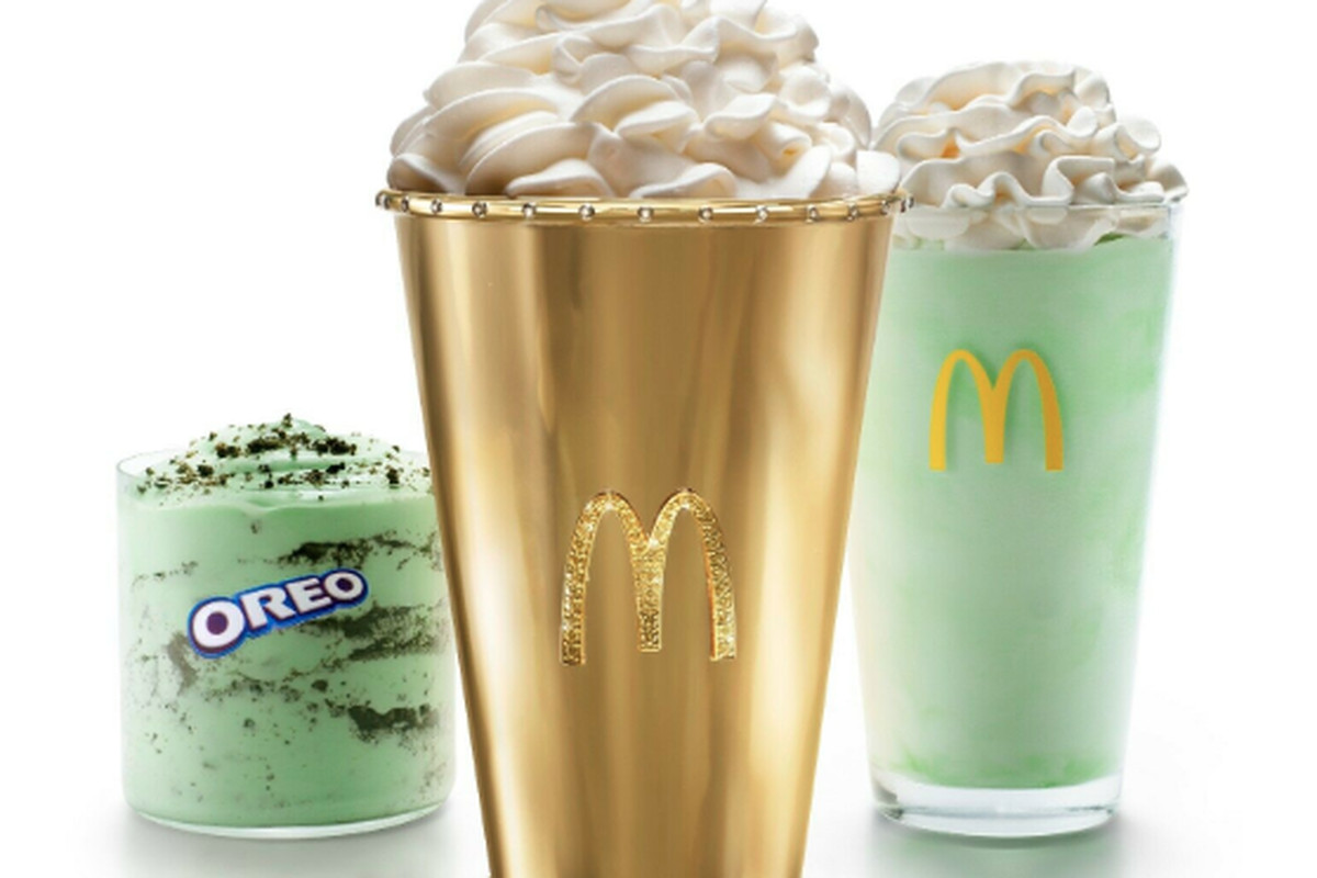 The Golden Shamrock Shake cup, which has emeralds, white diamonds and yellow diamonds, isworth approximately $90,000 and it took a team of jewelers over 140 hours to make.