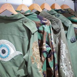 Embellished military jackets, $1,300 to $1,800
