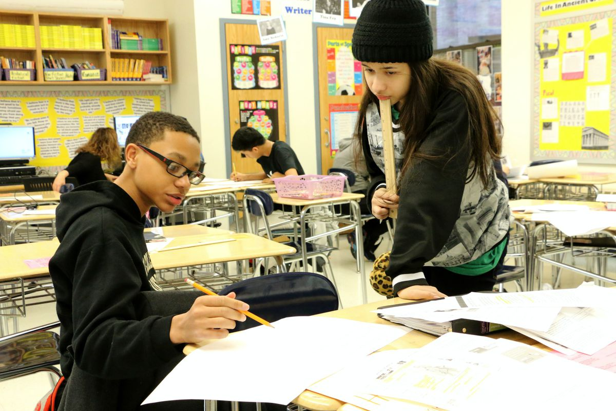 Students at Richard R. Green High School of Teaching in Manhattan in 2016.