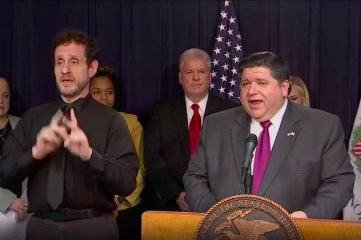 Illinois Gov. J.B. Pritzker announces a statewide school closure through March 30.