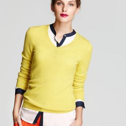 """<strong>C by Bloomingdale's</strong> Cashmere Long Sleeve V-Neck Sweater, <a href=""""http://www1.bloomingdales.com/shop/product/c-by-bloomingdales-cashmere-long-sleeve-v-neck-sweater?ID=638164#"""">$74</a> on sale from $148"""