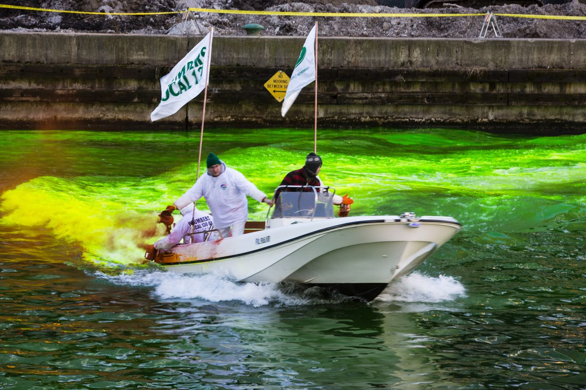Members of the Plumbers Union dye the Chicago River green to celebrate St. Patrick's Day in 2019, not knowing they wouldn't be doing it again for a few years.