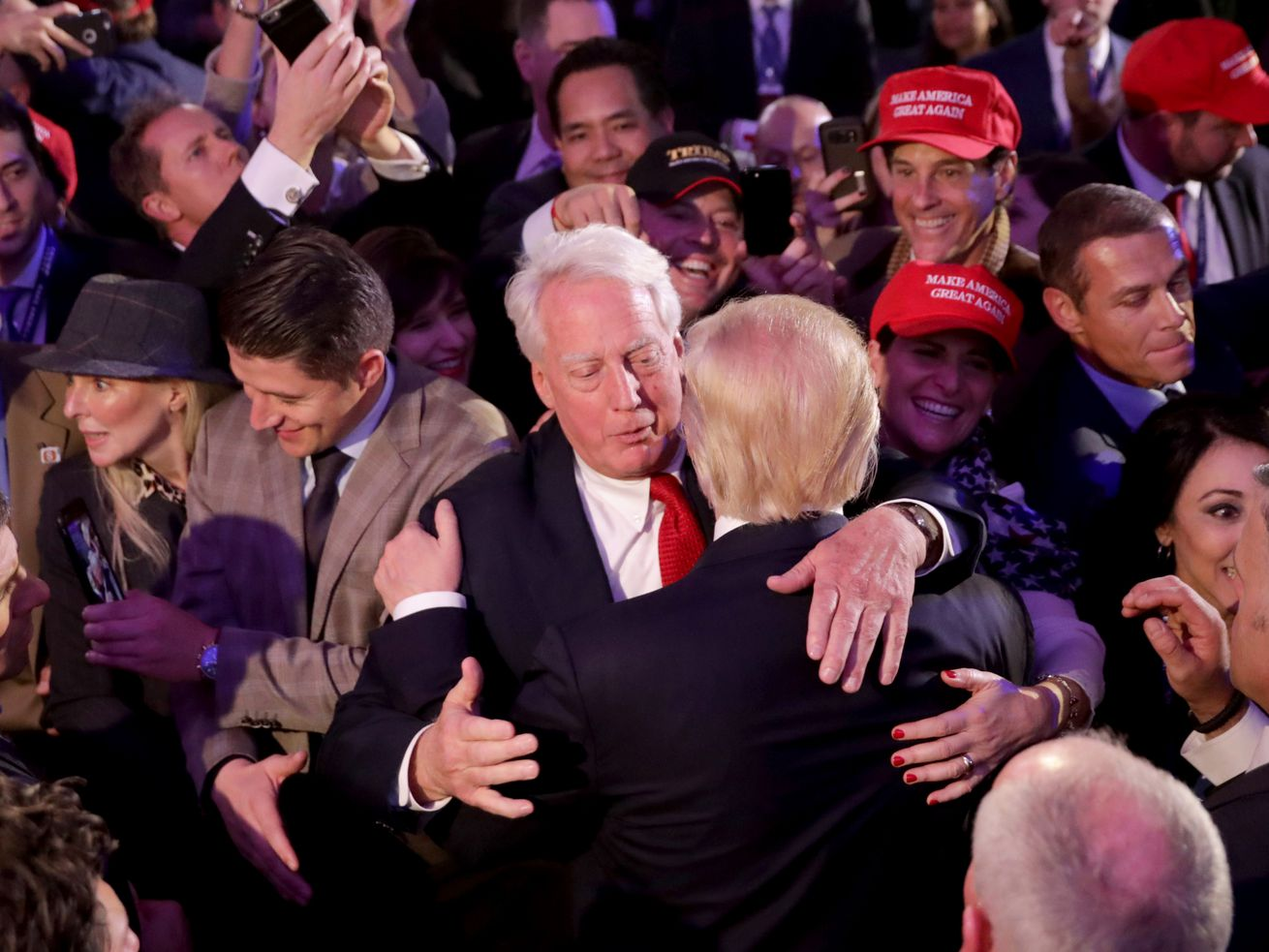 Republican Presidential Nominee Donald Trump Hugs Brother Robert After Acceptance Speech in 2016