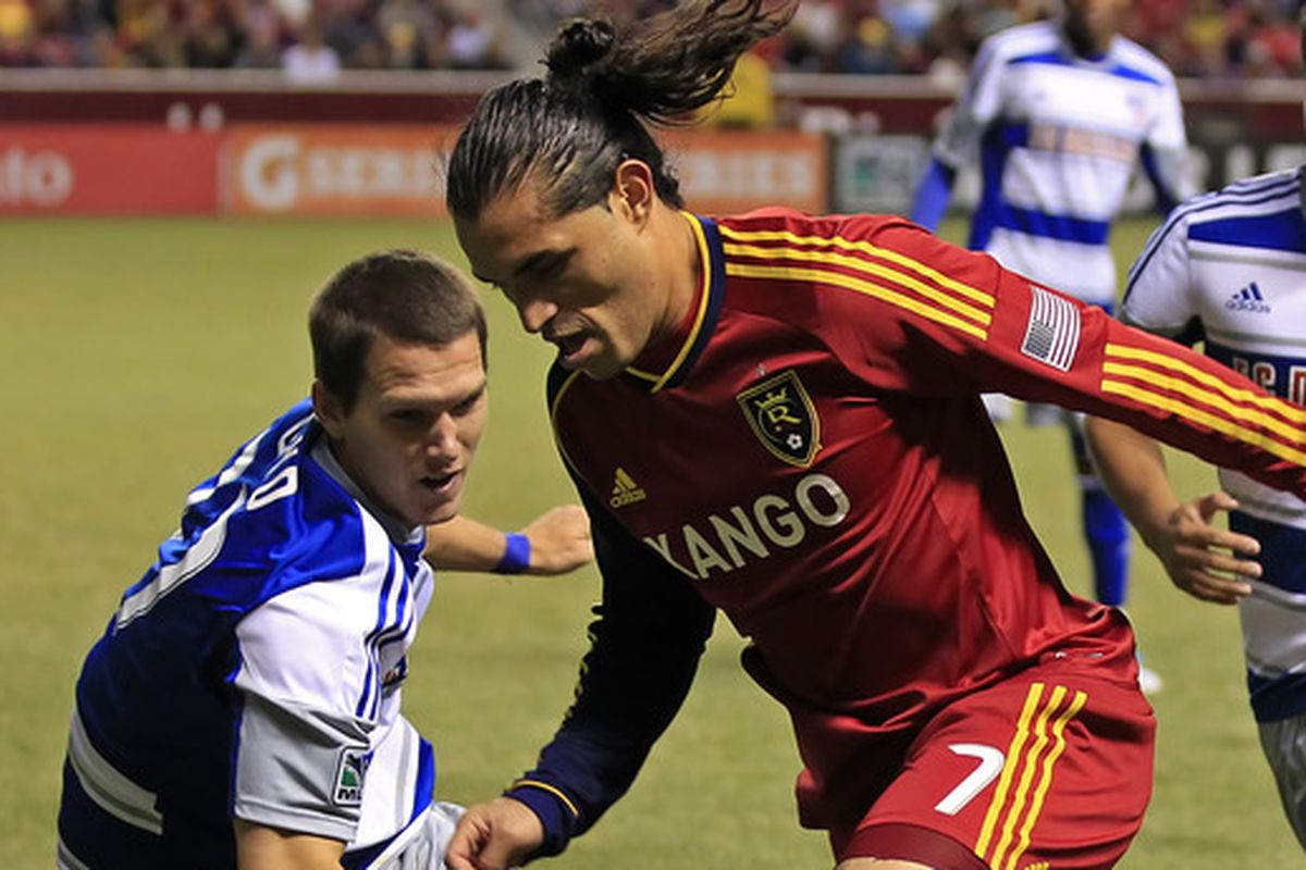 The last time FC Dallas came to Rio Tinto Stadium, Fabian Espindola had a very solid match, can he start scoring goals against them this time? (Photo by George Frey/Getty Images)