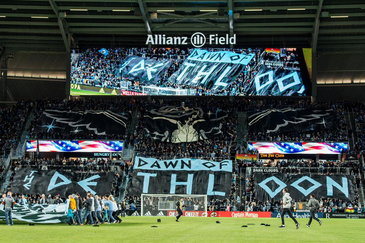 October 20, 2019 - Saint Paul, Minnesota, United States- The Wonderwall deploys a tifo before an Audi MLS Cup Playoff match between Minnesota United and The Los Angeles Galaxy at Allianz Field (Photo: Tim C McLaughlin)