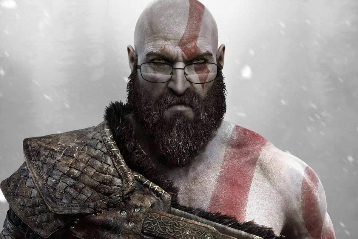 God of War - Kratos with glasses photoshopped onto his face