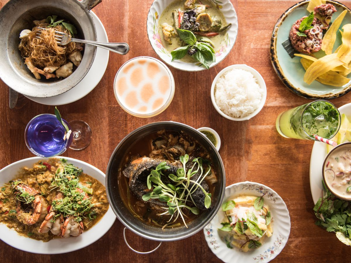 A spread of Thai dishes from Fish Cheeks