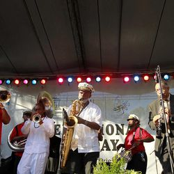 The Treme Brass band performs at a sunrise concert marking International Jazz Day in New Orleans, Monday, April 30, 2012. The performance, at Congo Square near the French Quarter, is one of two in the United States Monday; the other is in the evening in New York. Thousands of people across the globe are expected to participate in International Jazz Day, including events in Belgium, France, Brazil, Algeria and Russia.
