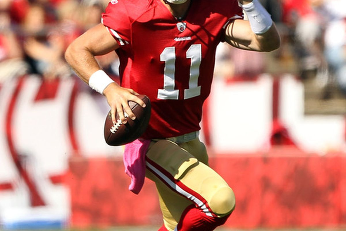 SAN FRANCISCO, CA - OCTOBER 09:   Alex Smith #11 of the San Francisco 49ers in action during their against the Tampa Bay Buccaneers at Candlestick Park on October 9, 2011 in San Francisco, California.  (Photo by Ezra Shaw/Getty Images)
