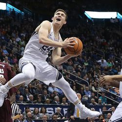 Brigham Young Cougars guard McKay Cannon (24) goes up for a shot as BYU and Texas Southern play an NCAA basketball game in Provo at the Marriott Center on Saturday, Dec. 23, 2017. BYU won 73-52.