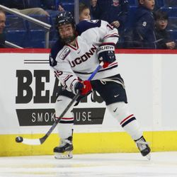 The Northeastern Huskies take on the UConn Huskies in a men's college hockey game at the XL Center in Hartford, CT on February 7, 2019.
