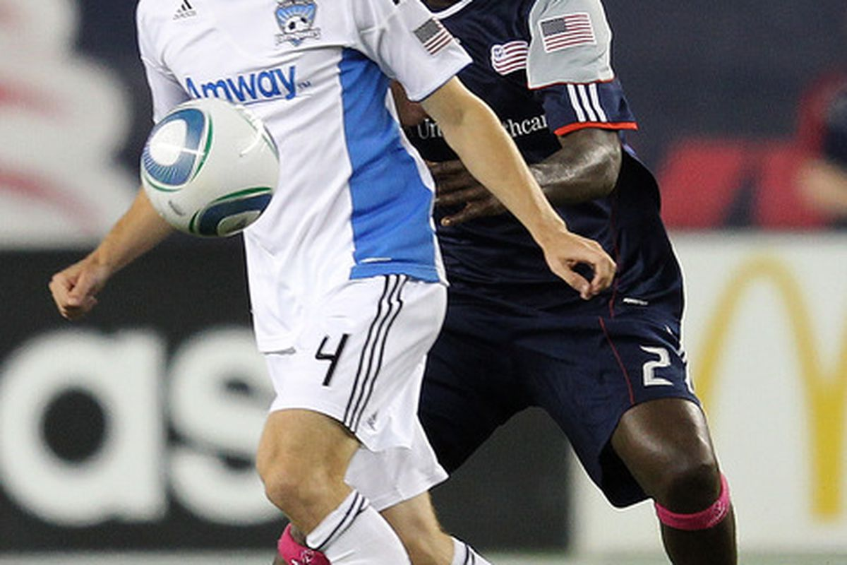 FOXBORO, MA - OCTOBER 8:  Shalrie Joseph #21 of the New England Revolution battles Sam Cronin #4 of the San Jose Earthquakes at Gillette Stadium on October 8, 2011 in Foxboro, Massachusetts. (Photo by Jim Rogash/Getty Images)