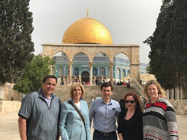 South Bend, Indiana Mayor Pete Buttigieg, Democratic presidential candidate, at the temple near the Dome of Rock Mosque along with Columbus, Ohio Mayor Andy Ginther, now formerly West Palm Beach, Florida Mayor Jeri Muoio, and & nbsp; Dayton, Ohio Mayor Nan Wh