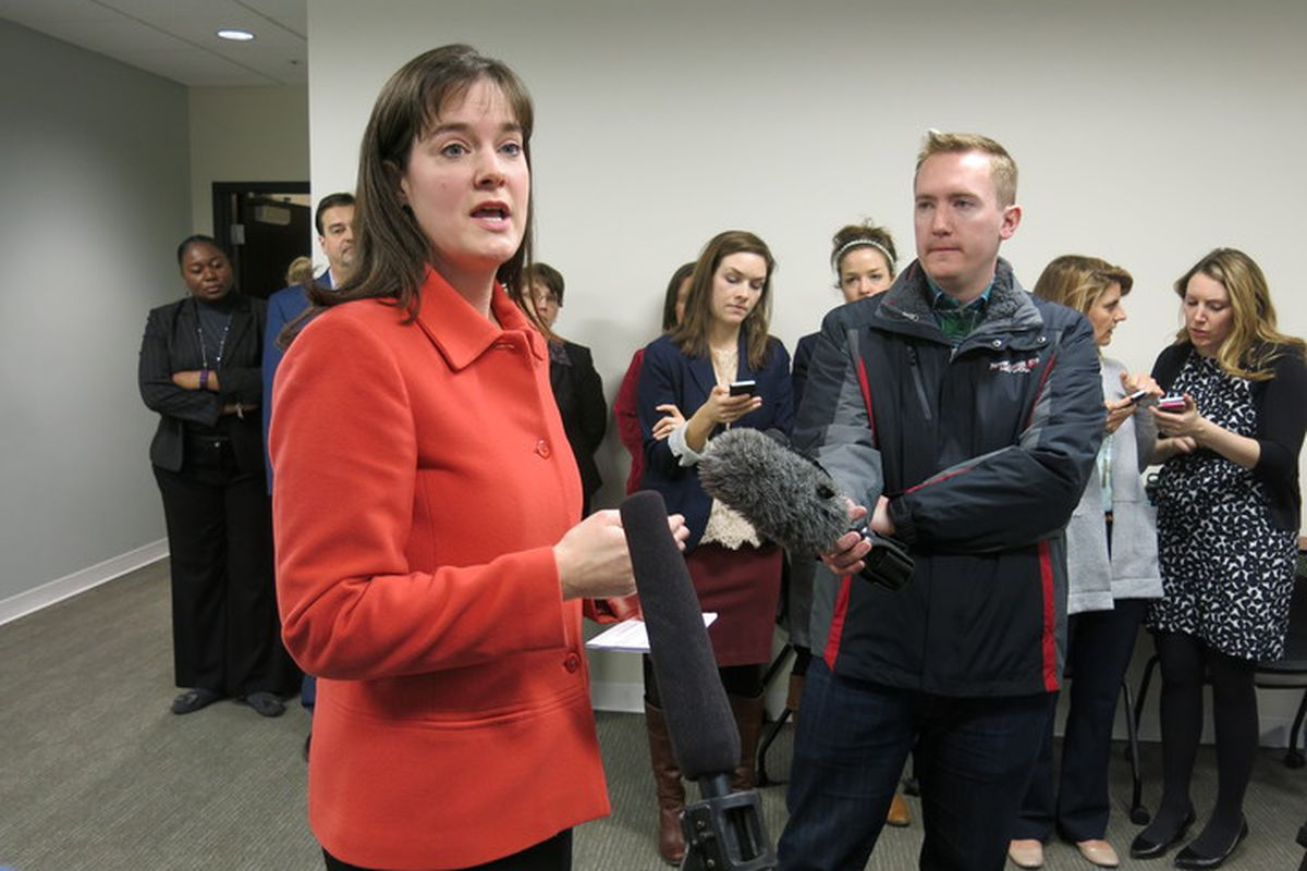 Tennessee Education Commissioner Candice McQueen speaks with reporters on Feb. 9, 2016, after technical problems halted the state's new online assessment called TNReady.