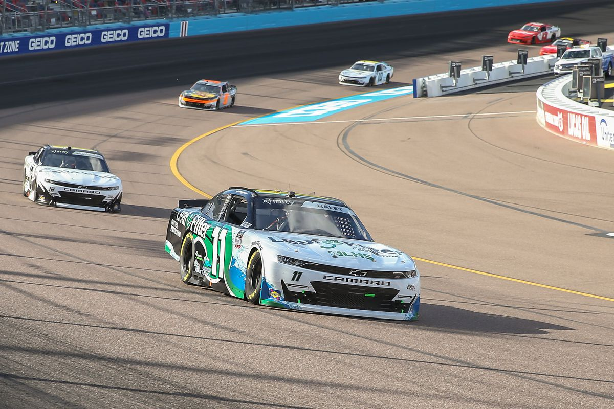 Justin Haley, driver of the #11 Kaulig Racing LeafFilter Gutter Protection Chevrolet Camaro, races during the Call 811 Before You Dig 200 Nascar Xfinity Series Race on March 13, 2021 at Phoenix ISM Raceway in Phoenix, Arizona.