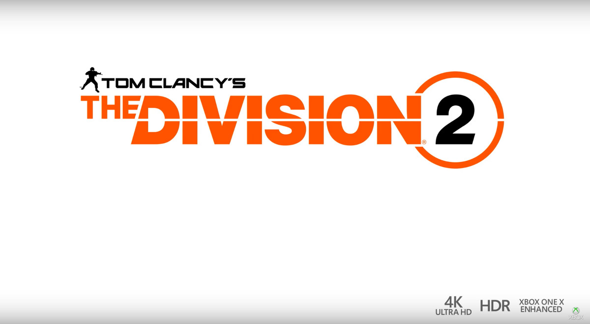 The title screen for The Division 2 with icons for 4K UltraHD resolutions, HDR and Xbox One X support