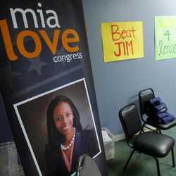 Campaign items in a meeting room of the Mia Love for Congress offices. Saratoga Springs Mayor and Congressional candidate Mia Love speaks at a press conference Monday, Oct. 1, 2012, about the cost of having Congressman Jim Matheson in office.