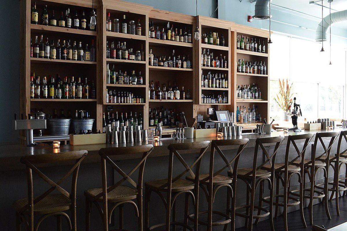 The bar at The Pinewood Tippling Room.