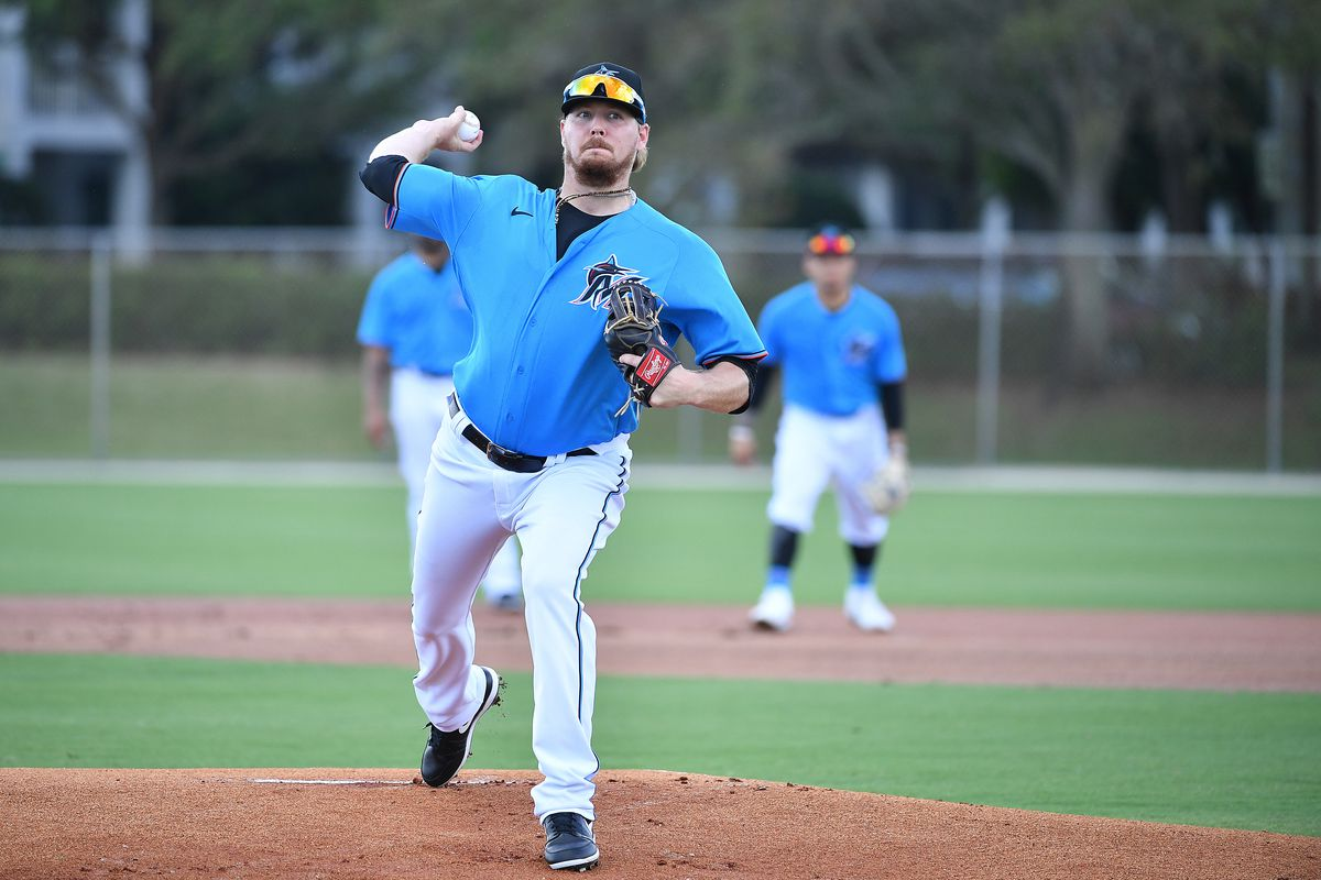 Ryne Stanek of the Miami Marlins pitches during team workout at Roger Dean Chevrolet Stadium on February 19, 2020 in Jupiter, Florida.