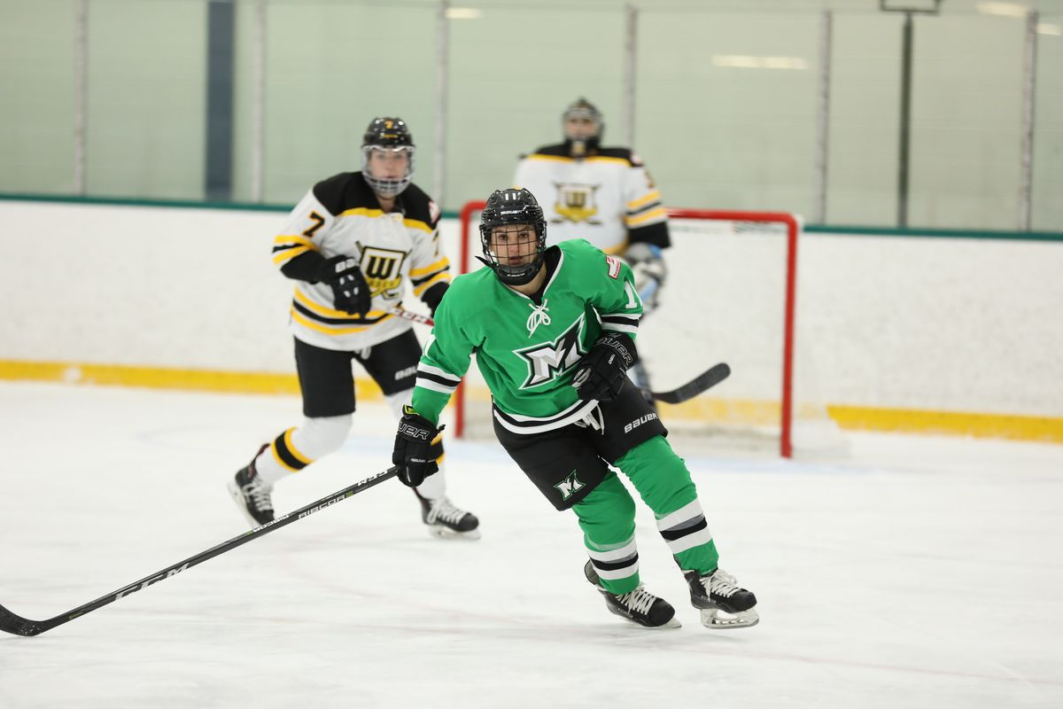Ailish Forfar (#11) of the Markham Thunder in the foreground with Lauren Williams of the Worcester Blades and the Blades goalie in the background.