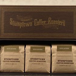 """If all you know about him is that he's a """"total coffee snob"""" (or if he's wrapping up his first semester of undergrad), gift him the <b>Stumptown</b> Grand Cru Collection, <a href=""""http://buy.stumptowncoffee.com/blends-gifts/grand-cru-collection.html"""">$60<"""