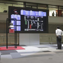 A man looks at the share price of Japan Airlines on an electronic stock board after a ceremony to mark its relisting  at the Tokyo Stock Exchange in Tokyo,  Wednesday, Sept. 19, 2012.  Japan Airlines Co. capped an $8.5 billion initial public offering, the biggest this year after Facebook's, with a modest return to the Tokyo Stock Exchange: Its share price rose only 1 percent in the first day of trading.