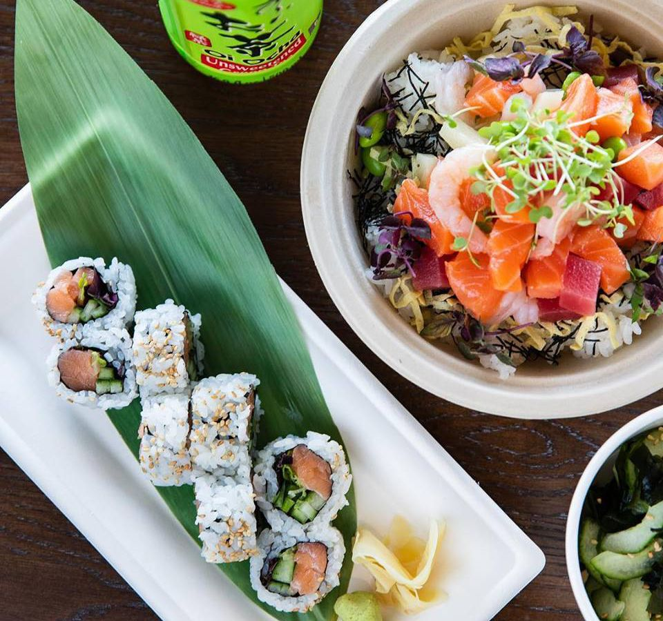 Sushi rolls and a poke bowl.