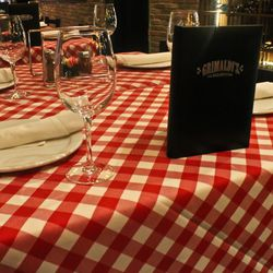 The checkered tablecloths at Grimaldi's.