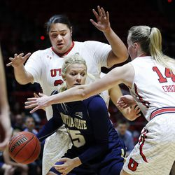 Montana State Bobcats forward Riley Nordgaard (15) is defended by Utah Utes center Joeseta Fatuesi (33) and guard Paige Crozon (14) during NIT women's basketball action in Salt Lake City, Friday, March 18, 2016.