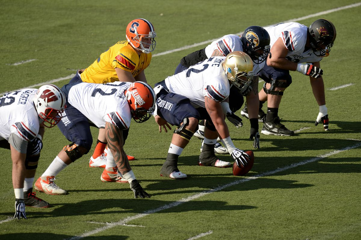 The North squad practices for the 2013 Senior Bowl