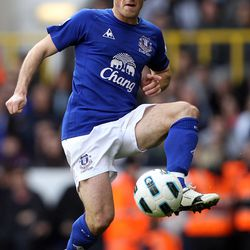 Leighton Baines of Everton in action during the Barclays Premier League match between Tottenham Hotspur and Everton at White Hart Lane on October 23, 2010 in London, England.