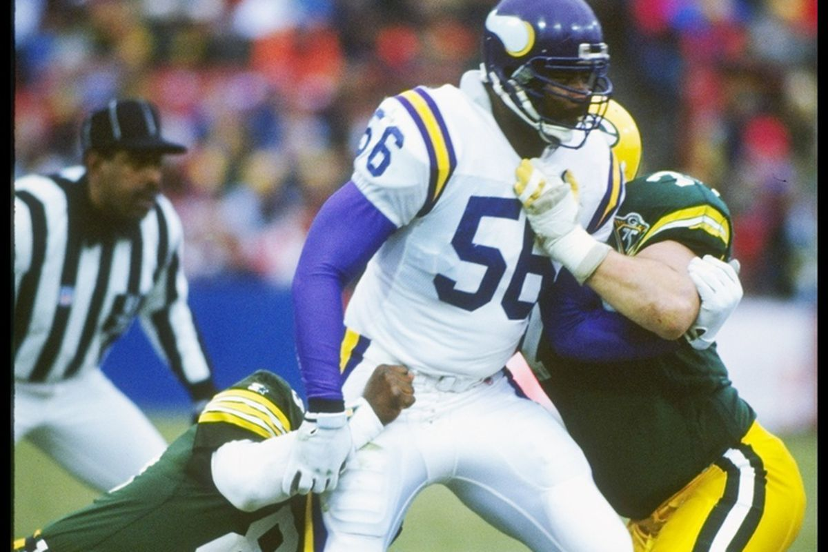 28 Oct 1990: Linebacker Chris Doleman of the Minnesota Vikings looks on during a game against the Green Bay Packers at Milwaukee County Stadium in Milwaukee, Wisconsin. The Vikings won the game, 21-17. (Mandatory Credit: Jonathan Daniel /Allsport)