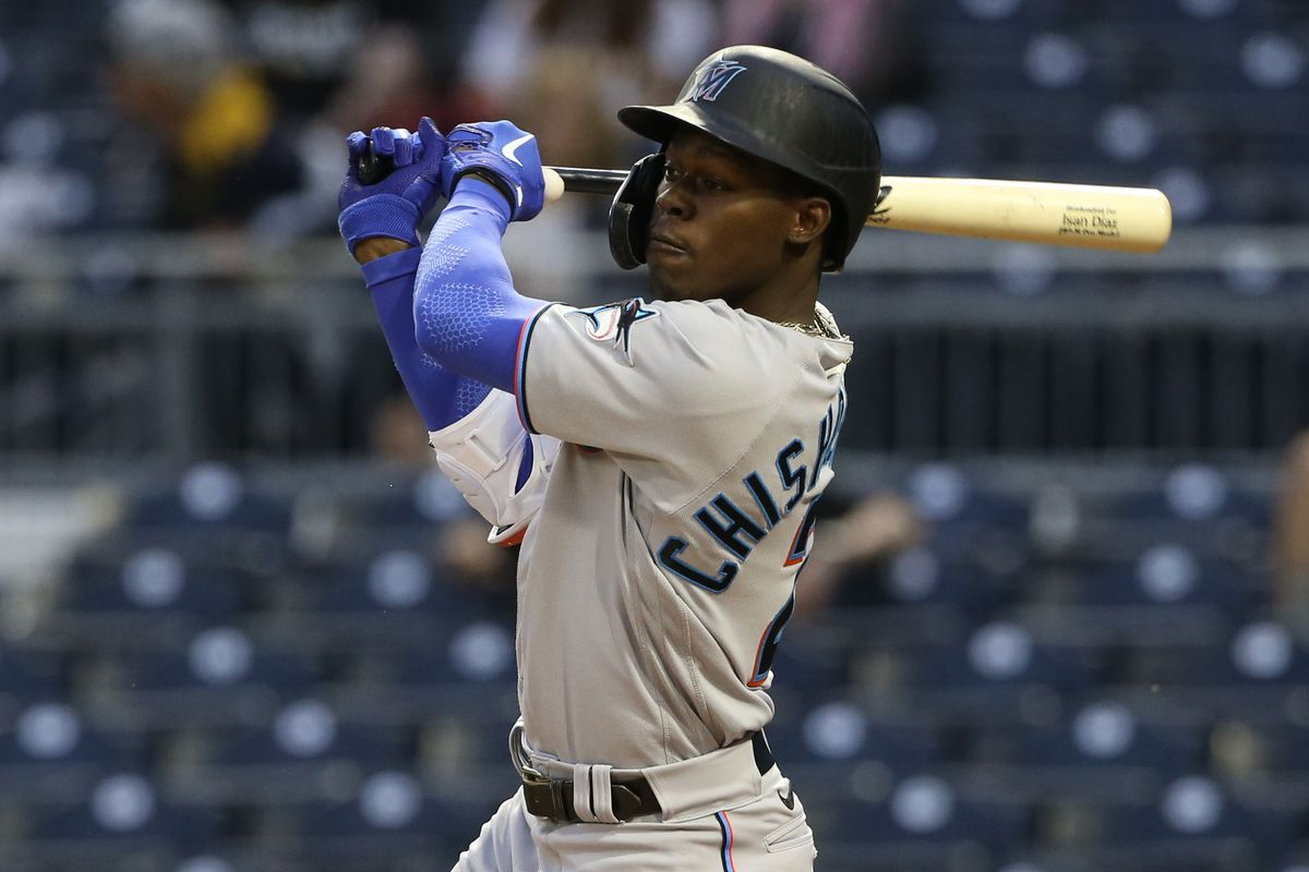 Miami Marlins shortstop Jazz Chisholm Jr. (2) hits an RBI single against the Pittsburgh Pirates during the third inning at PNC Park