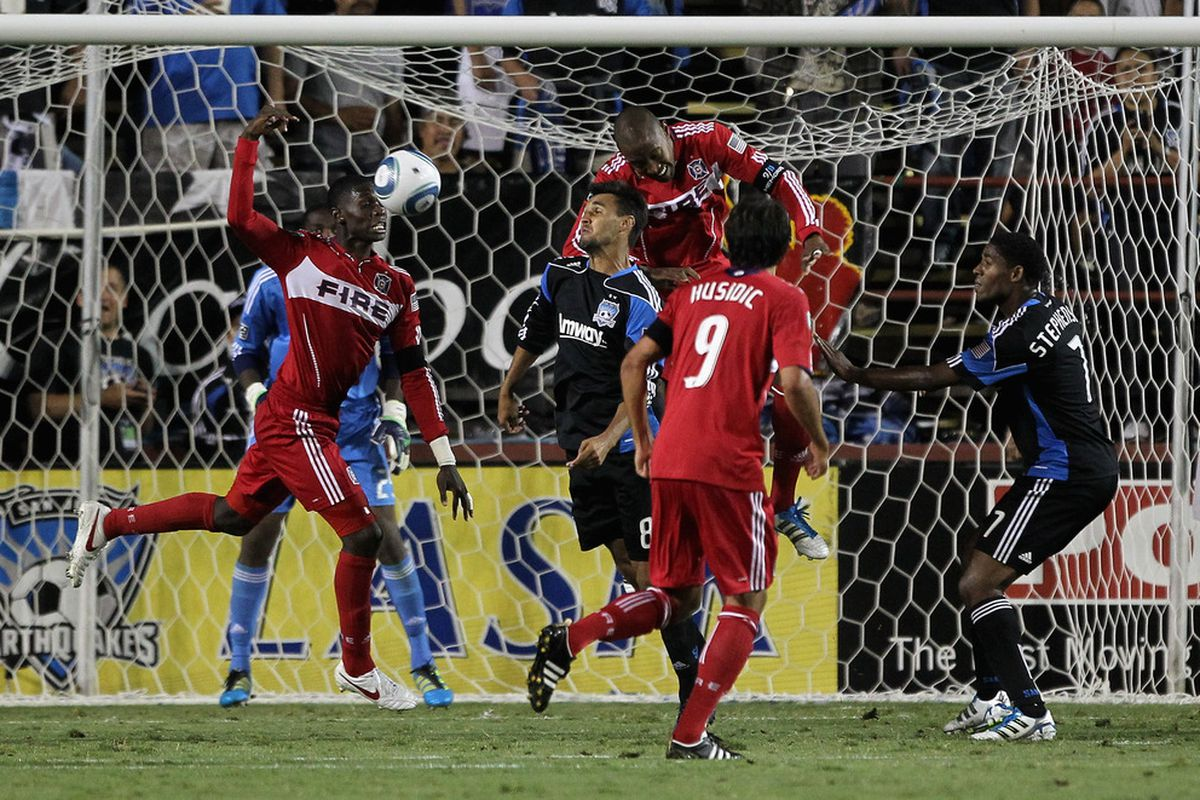 Shutting down Chris Wondolowski and co. tonight is going to be a very tall task for the Fire defense.  (Photo by Ezra Shaw/Getty Images)