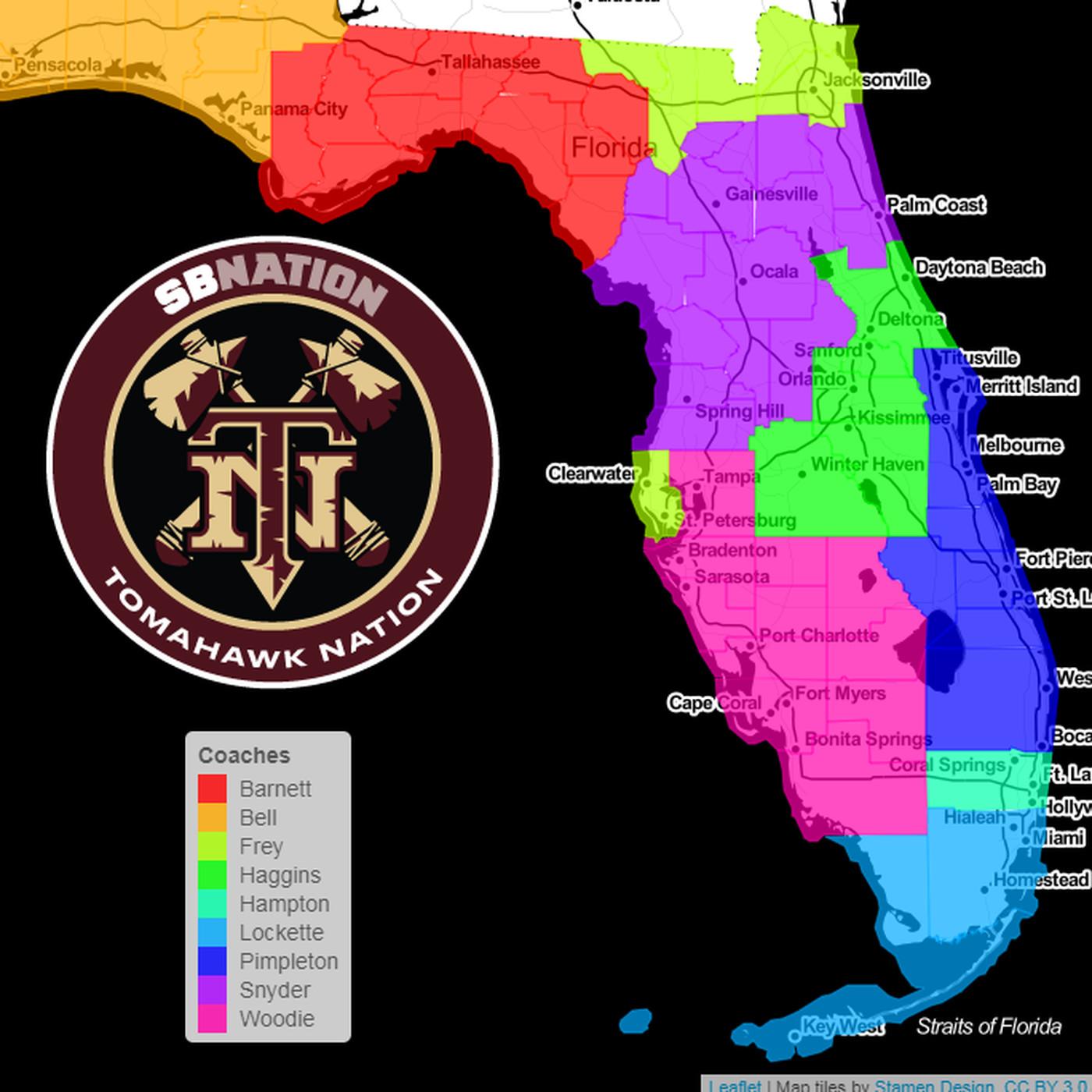 Florida State Football Coach Recruiting Territories In Florida
